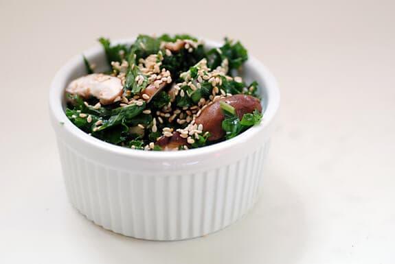 raw kale shiitake salad