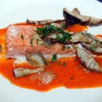 salmon with mushrooms and red pepper sauce recipe
