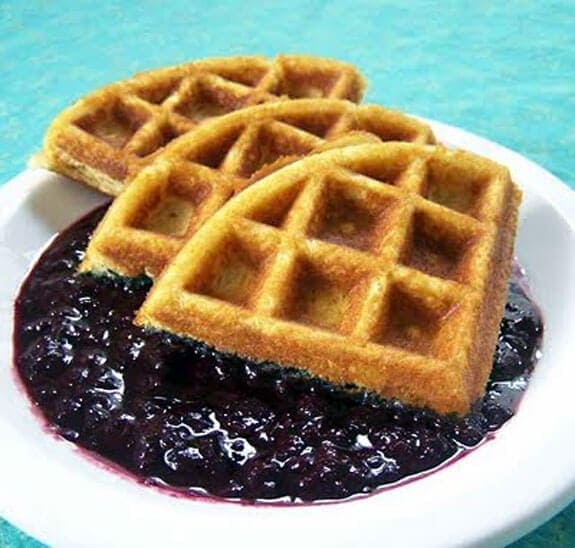 the spunky coconut's gluten free waffles with blueberry compote