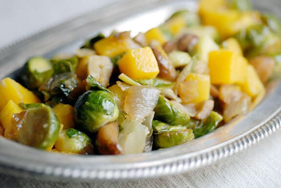 Squash with Brussel Sprouts and Chestnuts