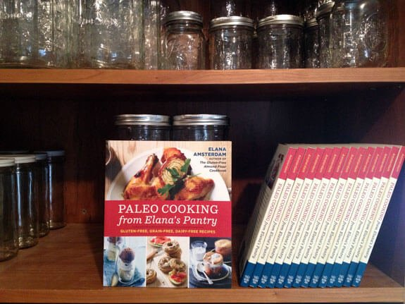 paleo cooking from elana's pantry on a bookshelf
