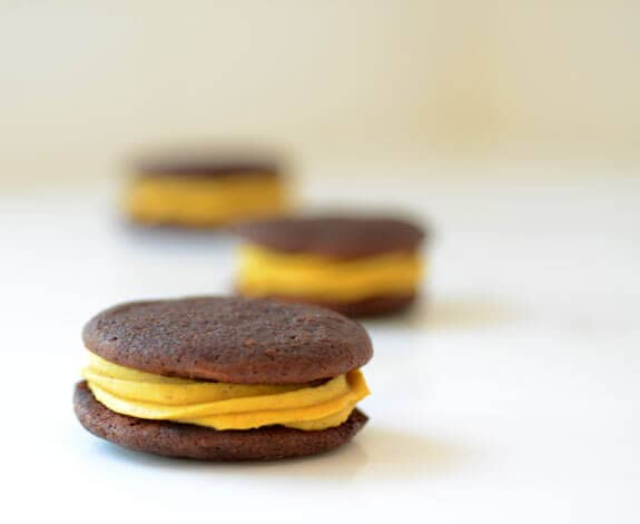 chocolate whoopie with pumpkin cream filling