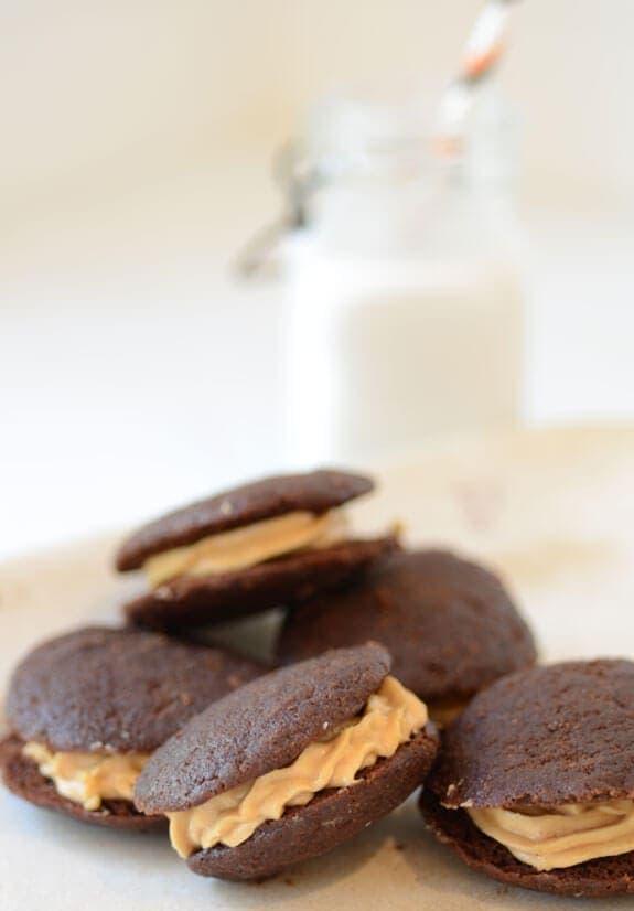 Chocolate Peanut Butter Whoopie Pies | Elana's Pantry
