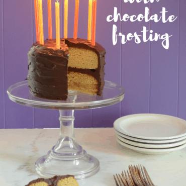 Vanilla Birthday Cake with Chocolate Frosting